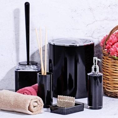 Kosova Akrilik 5 Parça Yuvarlak Siyah Banyo Seti Siyah